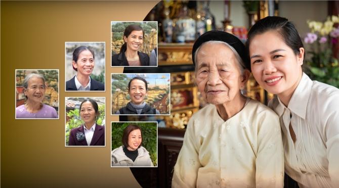 Hồng Phúc của gia đình cụ bà 96 tuổi cùng 7 người con.