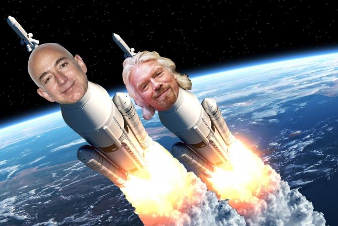 2 Tỷ phú Jeff Bezos & Richard Branson thành công chuyến bay lịch sử vào không gian